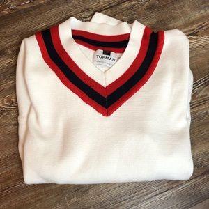 Topman White Milan Oversized V Neck Sweater